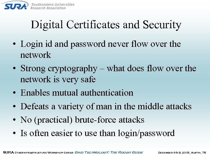 Digital Certificates and Security • Login id and password never flow over the network
