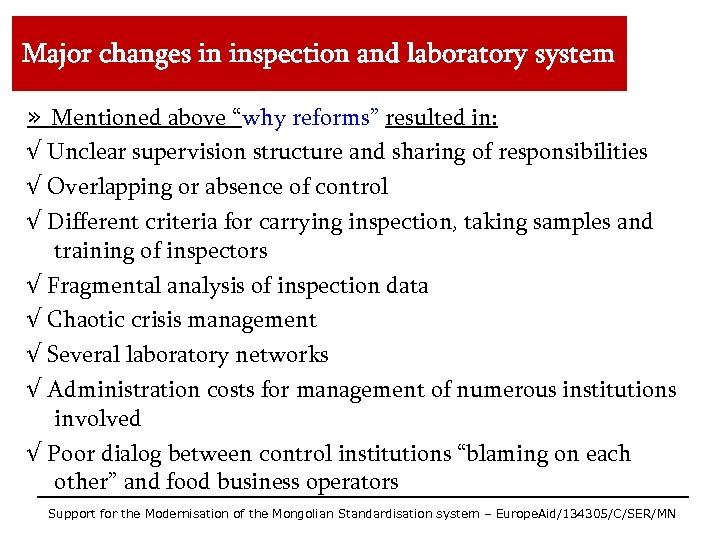 """Major changes in inspection and laboratory system » Mentioned above """"why reforms"""" resulted in:"""