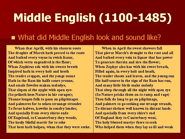 Middle English (1100 -1485) n What did Middle English look and sound like? Whan