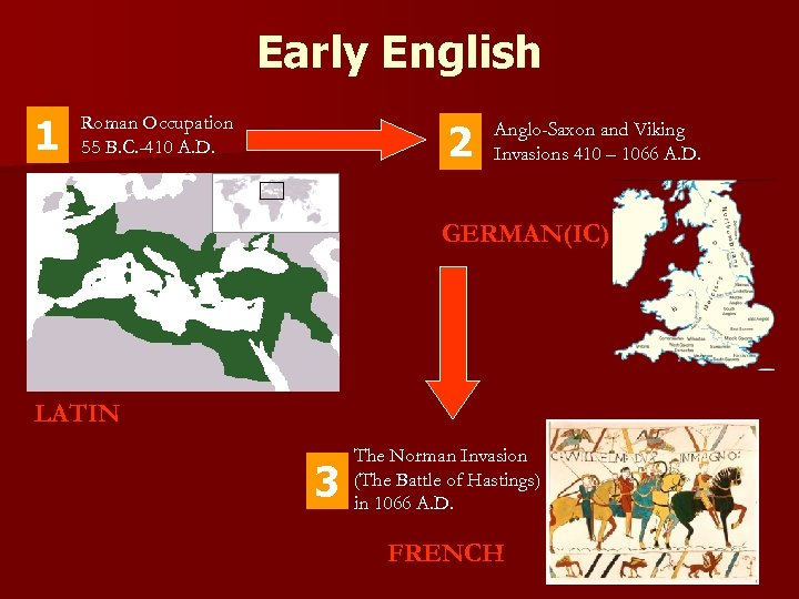 Early English 1 Roman Occupation 55 B. C. -410 A. D. 2 Anglo-Saxon and