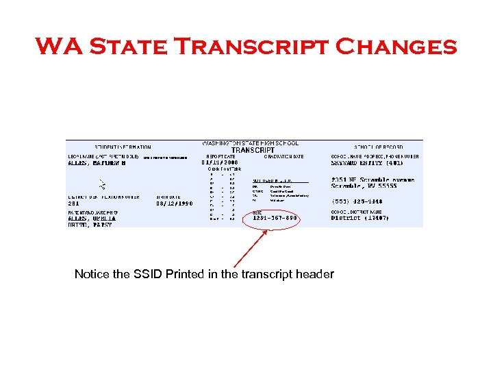 WA State Transcript Changes Notice the SSID Printed in the transcript header
