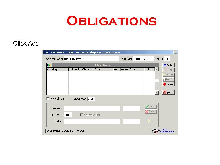 Obligations Click Add