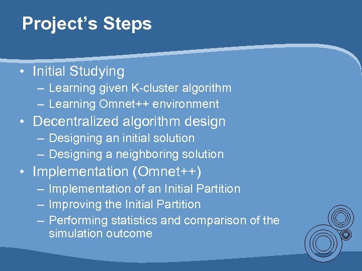 Project's Steps • Initial Studying – Learning given K-cluster algorithm – Learning Omnet++ environment