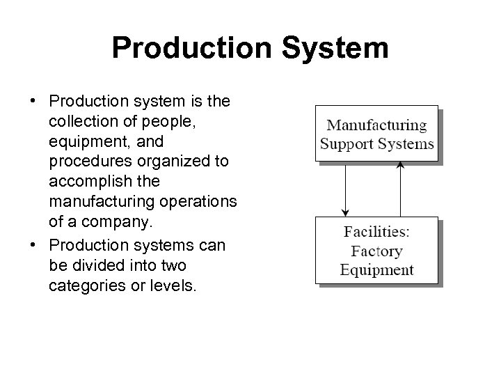 Production System • Production system is the collection of people, equipment, and procedures organized