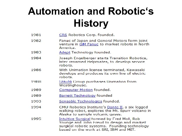Automation and Robotic's History
