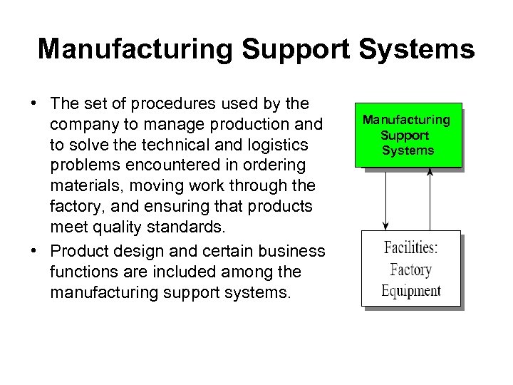 Manufacturing Support Systems • The set of procedures used by the company to manage