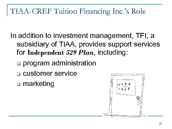 TIAA-CREF Tuition Financing Inc. 's Role In addition to investment management, TFI, a subsidiary