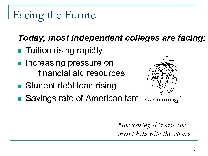 Facing the Future Today, most independent colleges are facing: n Tuition rising rapidly n