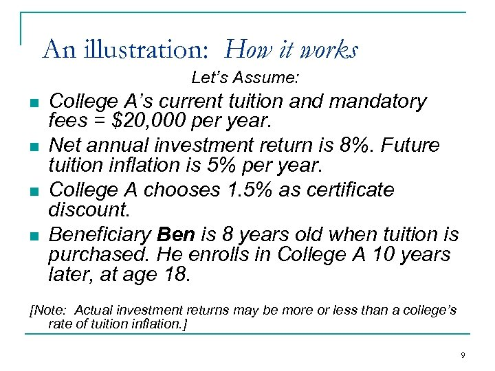 An illustration: How it works Let's Assume: n n College A's current tuition and