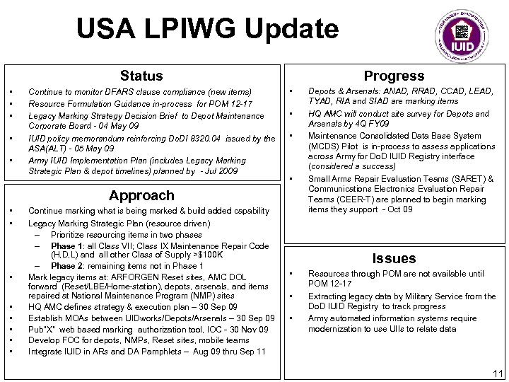 USA LPIWG Update Progress Status • • • Continue to monitor DFARS clause compliance