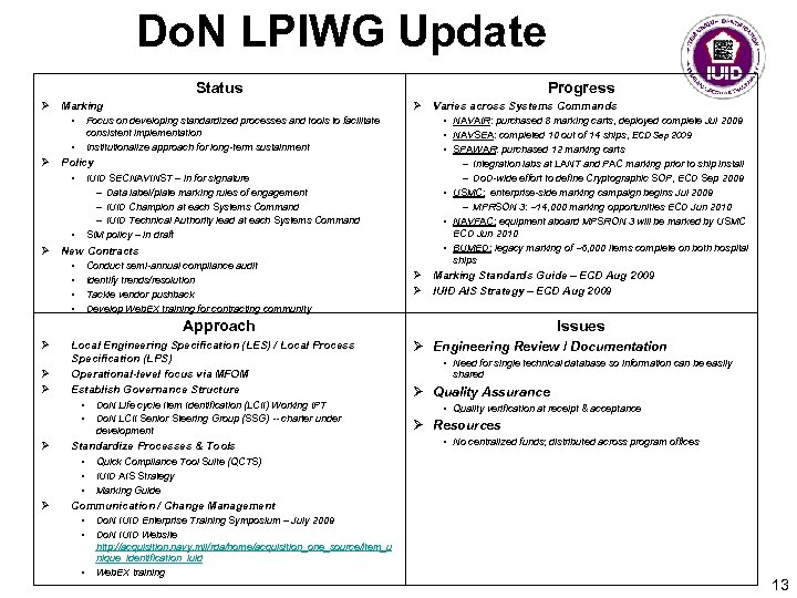 Do. N LPIWG Update Status Ø Marking • Ø Varies across Systems Commands Focus