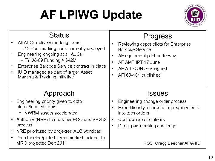 AF LPIWG Update Status • • All ALCs actively marking items – 42 Part