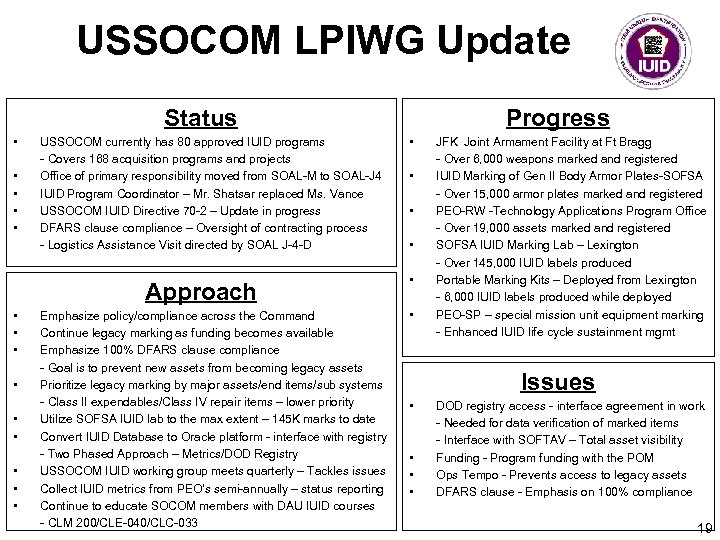 USSOCOM LPIWG Update Status • • • USSOCOM currently has 80 approved IUID programs
