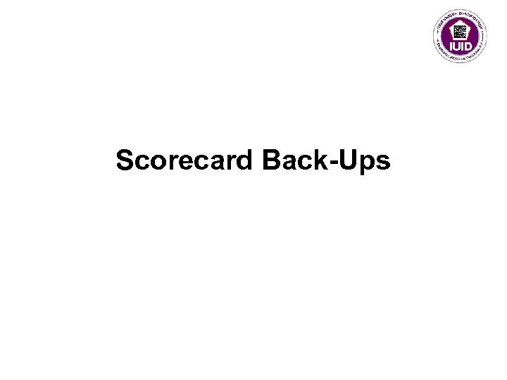Scorecard Back-Ups