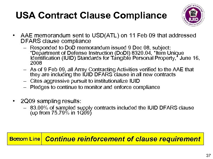 USA Contract Clause Compliance • AAE memorandum sent to USD(ATL) on 11 Feb 09