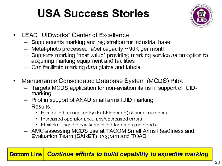"USA Success Stories • LEAD ""UIDworks"" Center of Excellence – Supplements marking and registration"