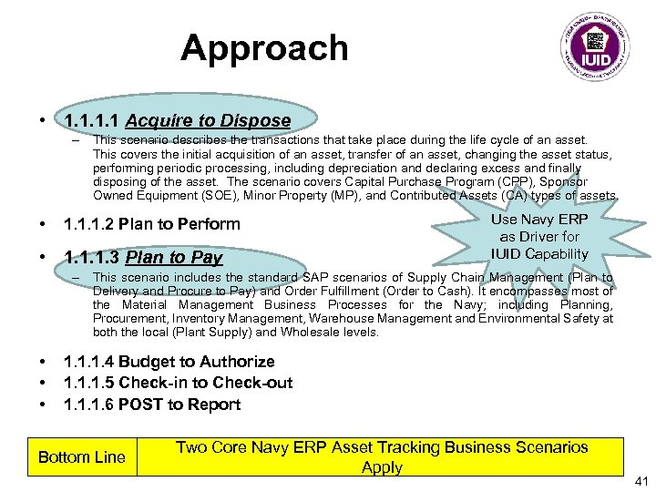 Approach • 1. 1 Acquire to Dispose – This scenario describes the transactions that