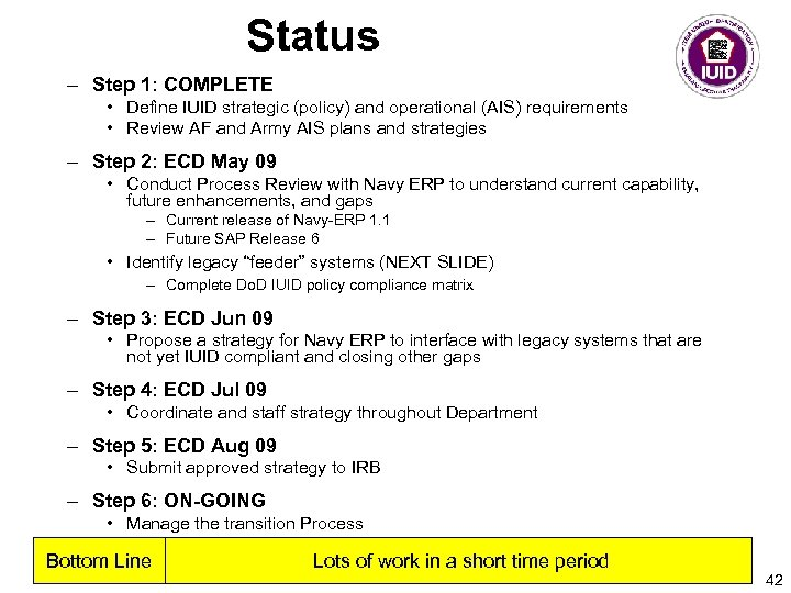 Status – Step 1: COMPLETE • Define IUID strategic (policy) and operational (AIS) requirements