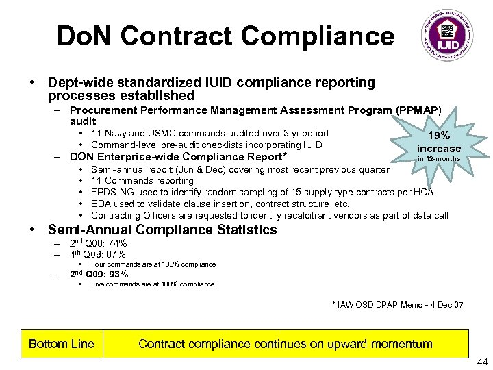Do. N Contract Compliance • Dept-wide standardized IUID compliance reporting processes established – Procurement