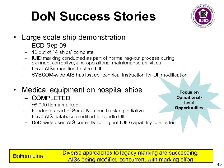 Do. N Success Stories • Large scale ship demonstration – ECD Sep 09 –