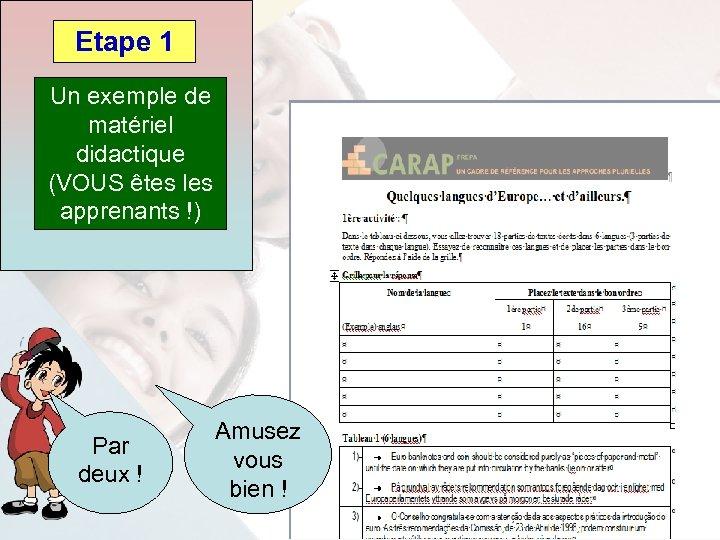 Etape 1 Un exemple de matériel didactique (VOUS êtes les apprenants !) Par deux
