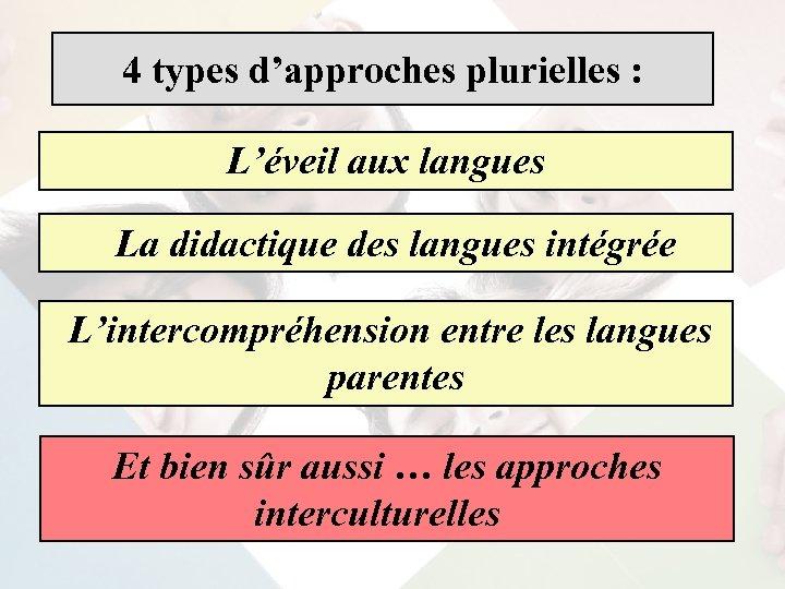 4 types d'approches plurielles : L'éveil aux langues La didactique des langues intégrée L'intercompréhension