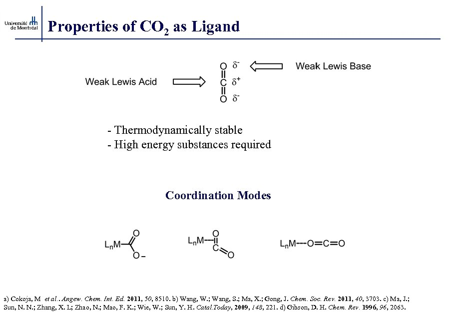 Properties of CO 2 as Ligand - Thermodynamically stable - High energy substances required
