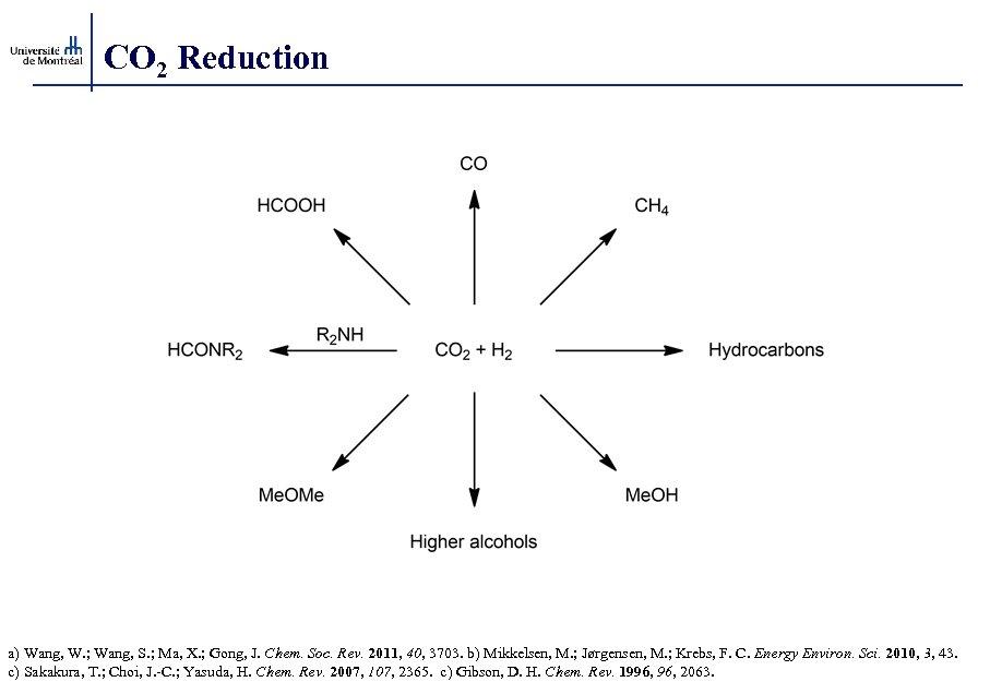 CO 2 Reduction a) Wang, W. ; Wang, S. ; Ma, X. ; Gong,