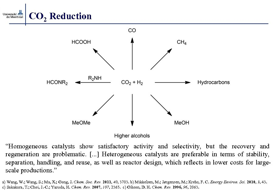 """CO 2 Reduction """"Homogeneous catalysts show satisfactory activity and selectivity, but the recovery and"""