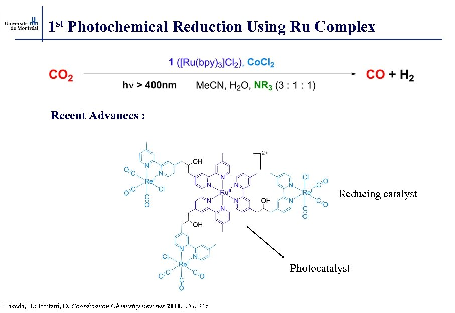 1 st Photochemical Reduction Using Ru Complex Recent Advances : Reducing catalyst Photocatalyst Takeda,