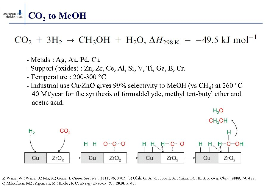 CO 2 to Me. OH - Metals : Ag, Au, Pd, Cu - Support