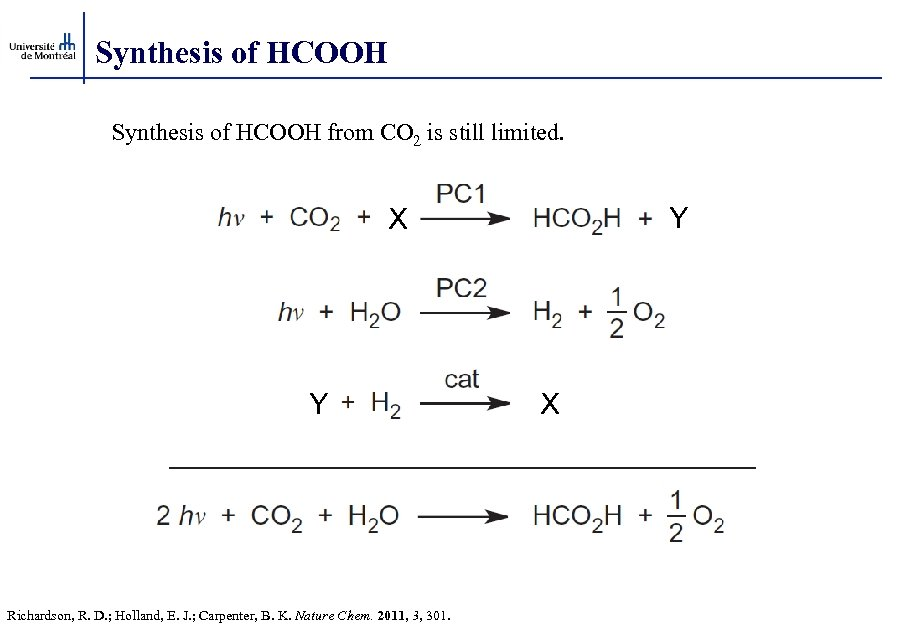 Synthesis of HCOOH from CO 2 is still limited. Y X Y Richardson, R.