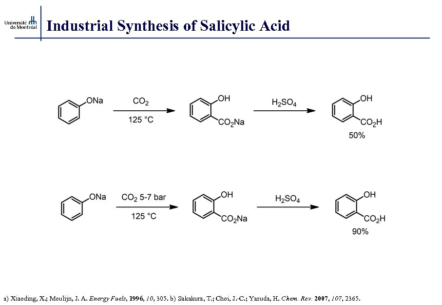 Industrial Synthesis of Salicylic Acid a) Xiaoding, X. ; Moulijn, J. A. Energy Fuels,