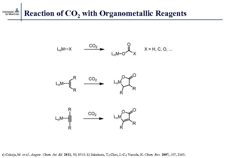 Reaction of CO 2 with Organometallic Reagents a) Cokoja, M et al. . Angew.