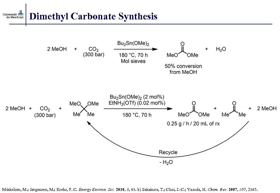 Dimethyl Carbonate Synthesis Mikkelsen, M. ; Jørgensen, M. ; Krebs, F. C. Energy Environ.