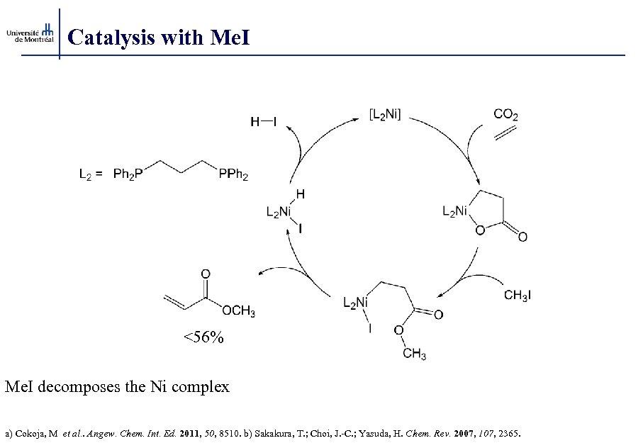 Catalysis with Me. I <56% Me. I decomposes the Ni complex a) Cokoja, M
