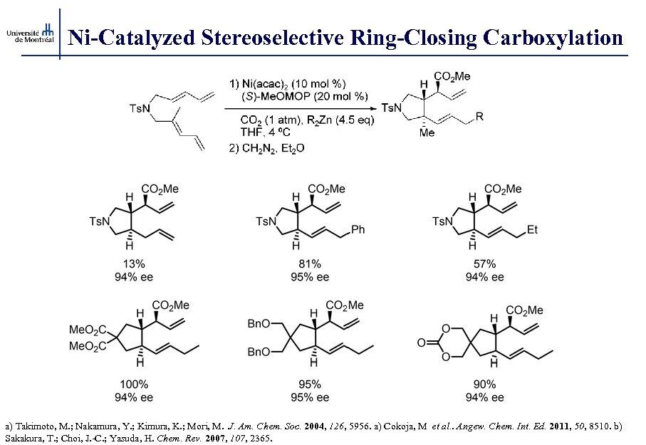 Ni-Catalyzed Stereoselective Ring-Closing Carboxylation a) Takimoto, M. ; Nakamura, Y. ; Kimura, K. ;