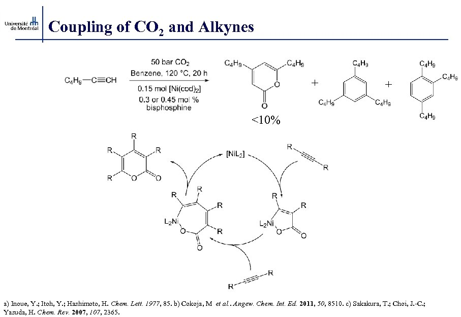 Coupling of CO 2 and Alkynes + + <10% a) Inoue, Y. ; Itoh,