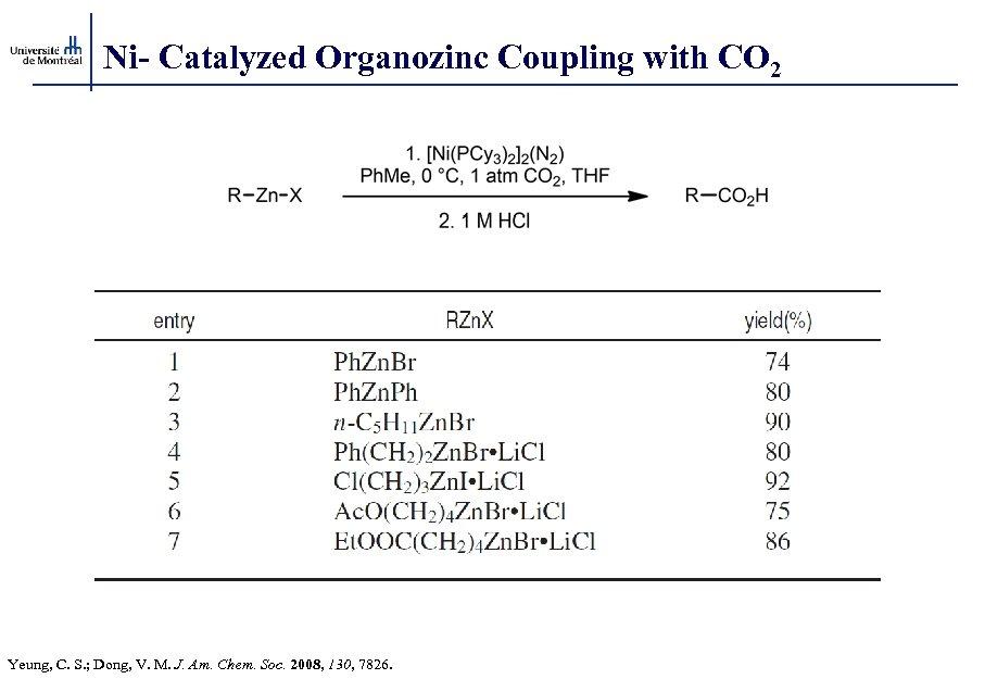 Ni- Catalyzed Organozinc Coupling with CO 2 Yeung, C. S. ; Dong, V. M.