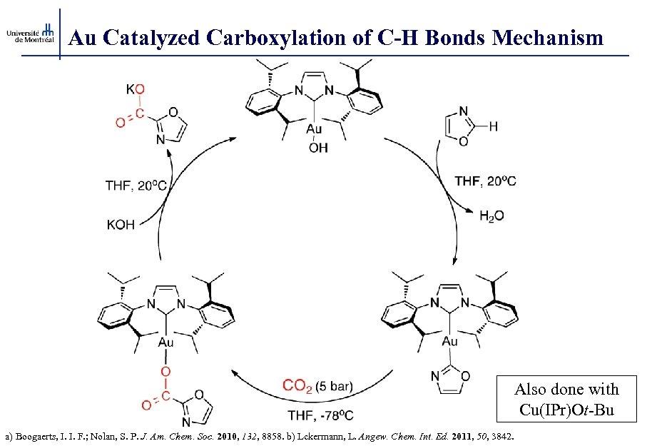 Au Catalyzed Carboxylation of C-H Bonds Mechanism Also done with Cu(IPr)Ot-Bu a) Boogaerts, I.