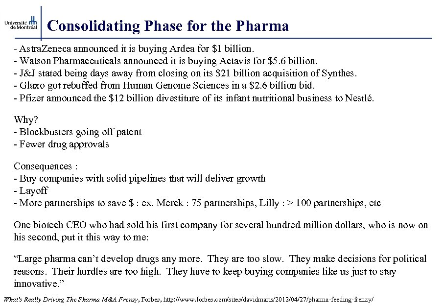 Consolidating Phase for the Pharma - Astra. Zeneca announced it is buying Ardea for