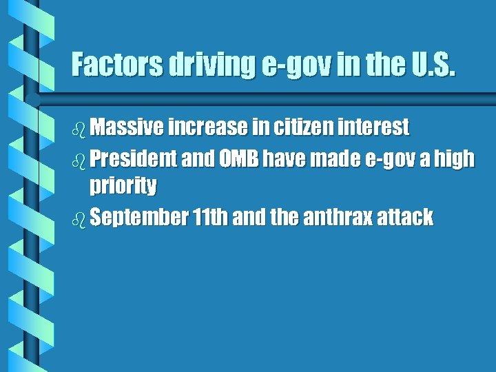 Factors driving e-gov in the U. S. b Massive increase in citizen interest b