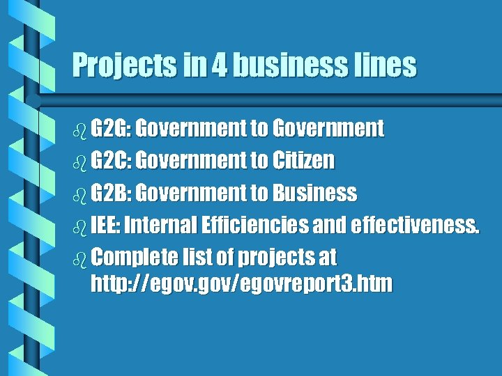 Projects in 4 business lines b G 2 G: Government to Government b G