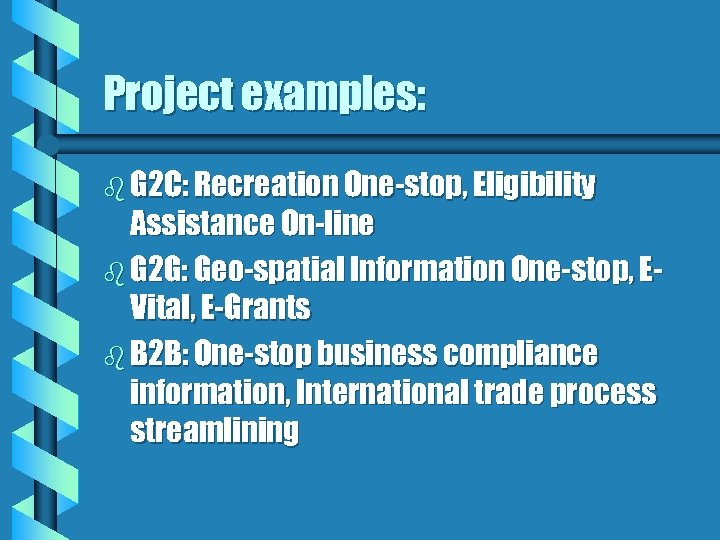 Project examples: b G 2 C: Recreation One-stop, Eligibility Assistance On-line b G 2