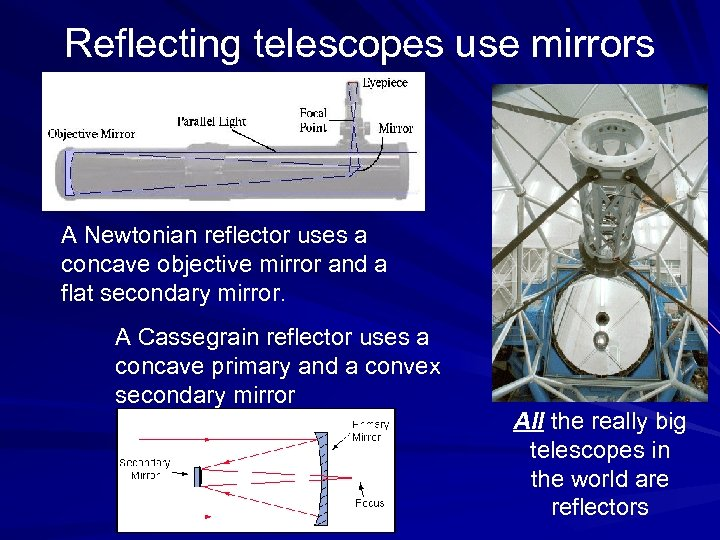Reflecting telescopes use mirrors A Newtonian reflector uses a concave objective mirror and a