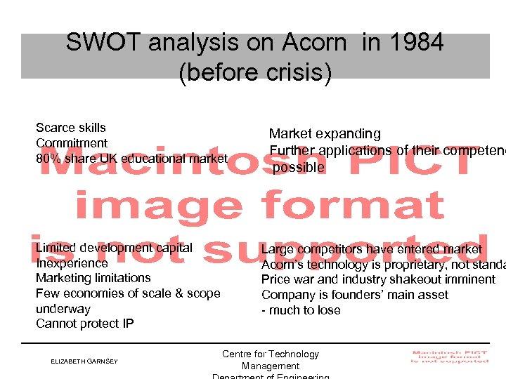 SWOT analysis on Acorn in 1984 (before crisis) Scarce skills Commitment 80% share UK