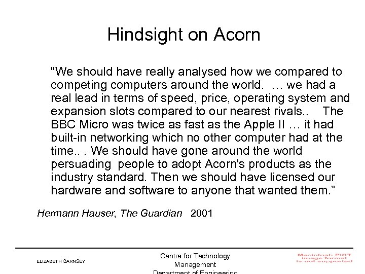 Hindsight on Acorn