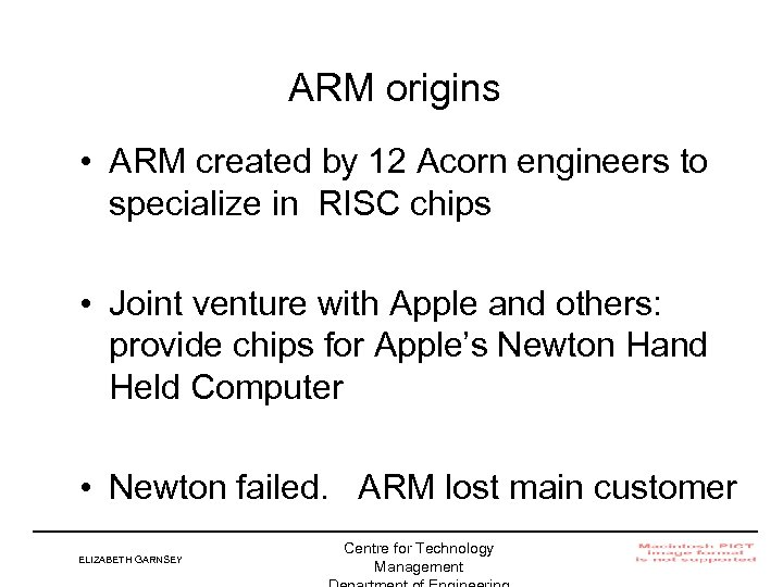 ARM origins • ARM created by 12 Acorn engineers to specialize in RISC chips