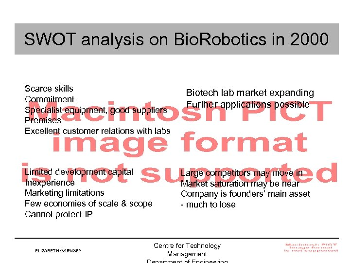 SWOT analysis on Bio. Robotics in 2000 Scarce skills Commitment Specialist equipment, good suppliers