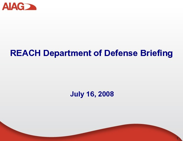 REACH Department of Defense Briefing July 16, 2008 1